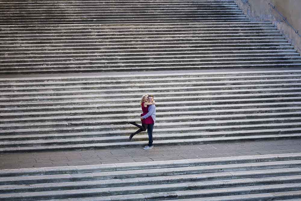 Jumping for joy photography on the staircases of Piazza del Campidoglio.