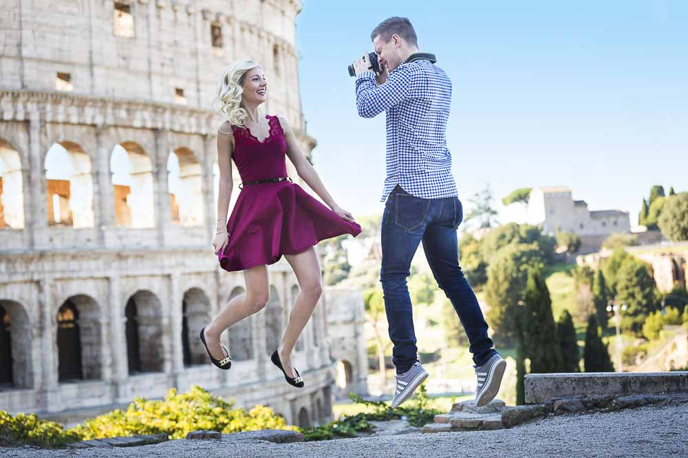 Lifestyle photo shoot in Rome. Jumping for joy in Rome. Picture by Andrea Matone photographer.