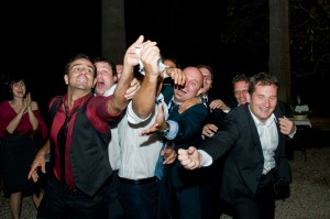 Tossing the garter end of wedding.