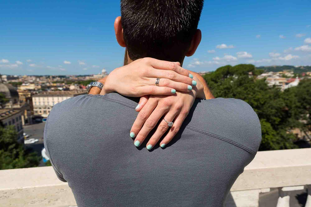 Engaged over the city.