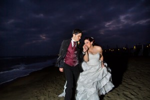 Night time beach wedding at Ostia Italy