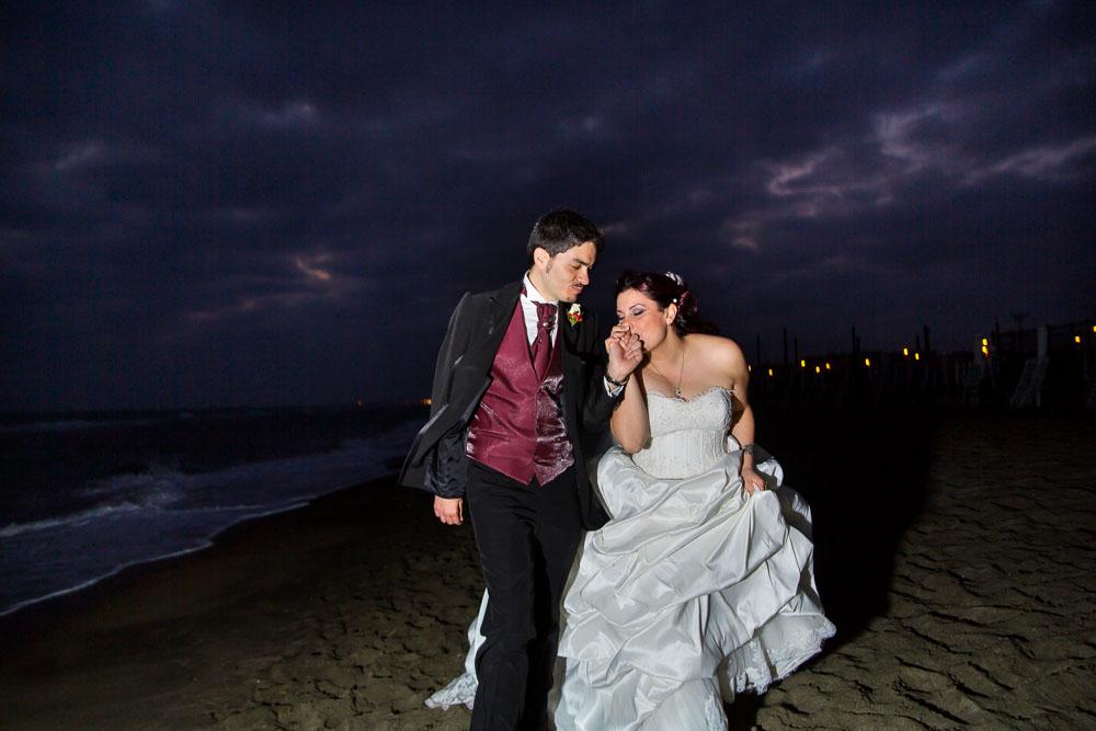 Night time beach wedding at Ostia Italy