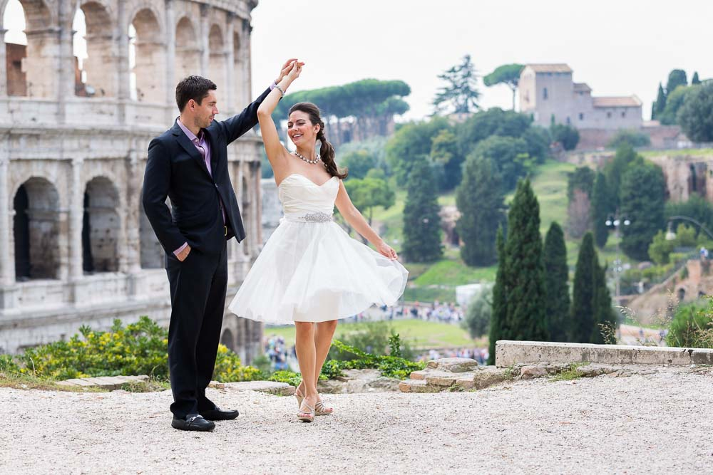 Wedding honeymoon engagement style photo session in Rome Italy.