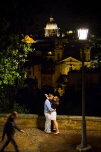 Engagement pictures at Pincio Park in Rome, Italy.
