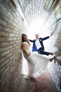 Matrimonial photo session. Picture taken in a tunnel.