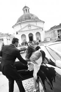 Wedding photography. Bride and groom. Black and white image. Ariccia Church. Italy.