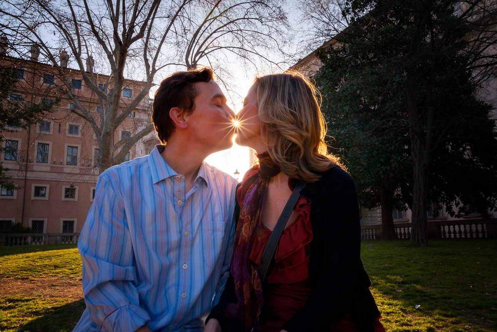 Engagement kiss at sunset