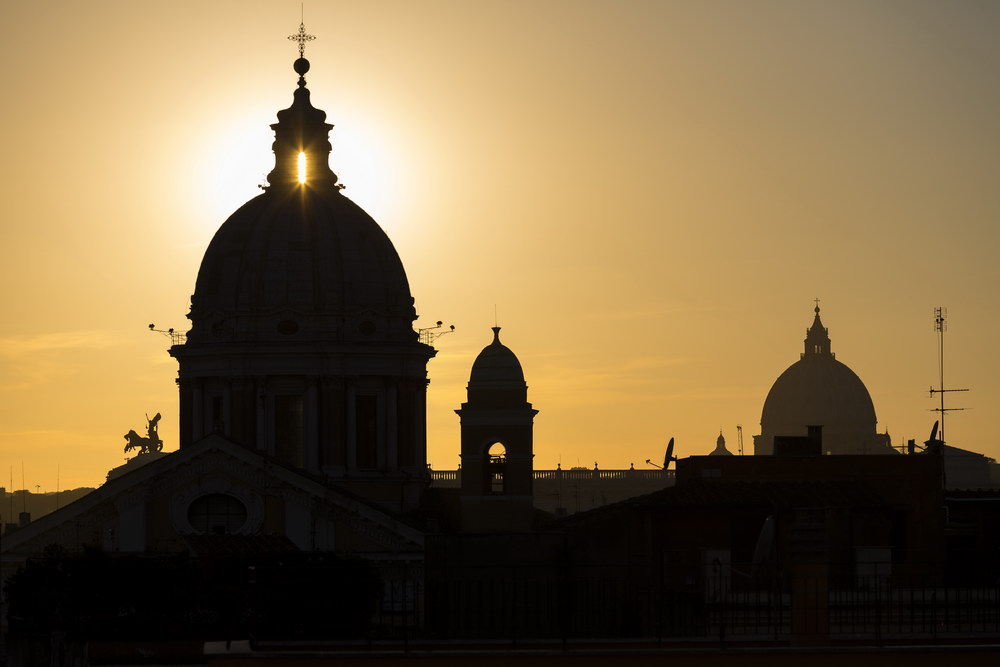 Sun setting over the Roman rooftops