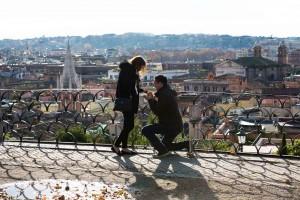 Wedding proposal. One knee down. Overlooking Rome.