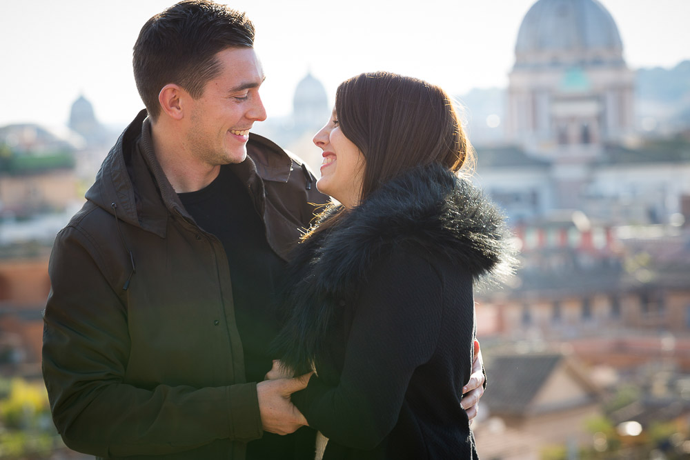 In love and engaged in Rome.