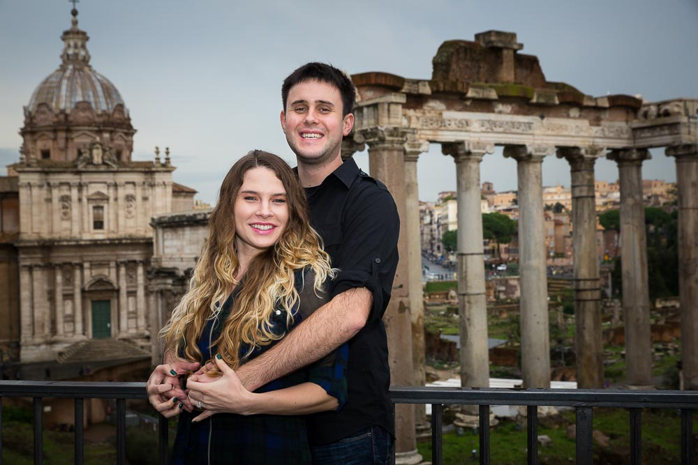 Posing in front of the roman forum in ancient Rome