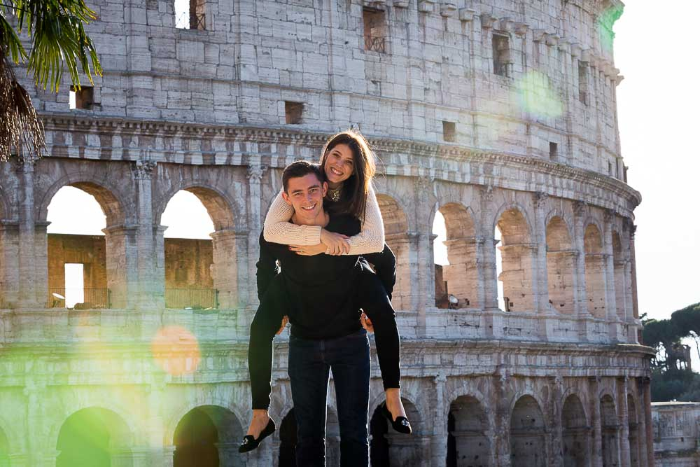 Piggy back ride at the roman Coliseum