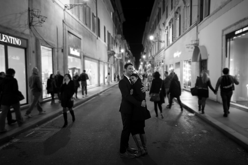 Via Condotti engagement photo session in black and white