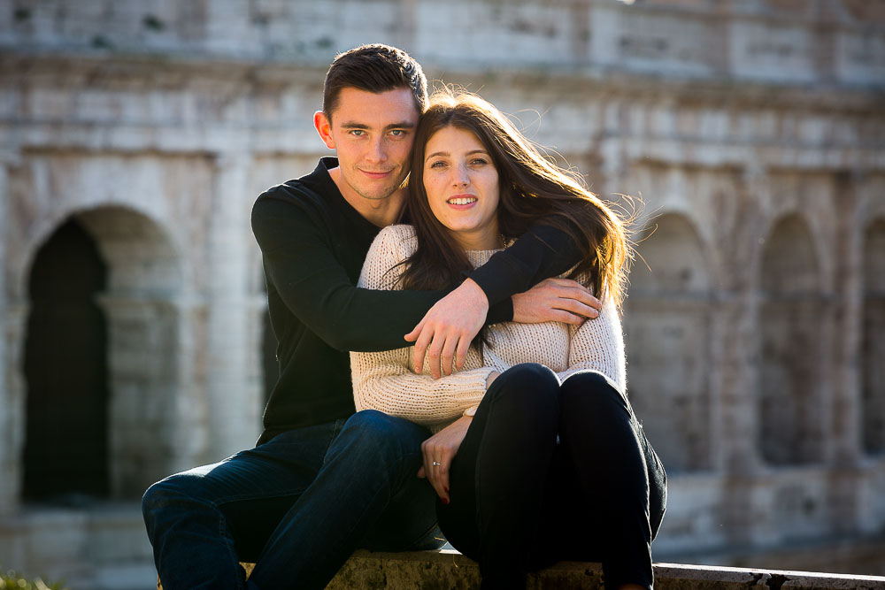 Portrait picture taken at the Colosseum in Rome Italy. During an engagement photo shoot.
