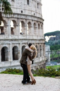 Couple hugging of joy after marriage proposal in Rome