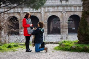 One knee down asking for marriage in Rome Italy