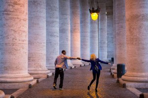 Dancing and walking under the Saint Peter's colonnade