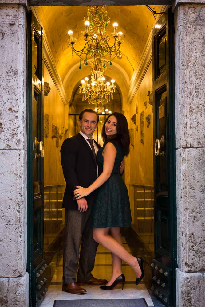 Stylish engagement photo shoot on a doorstep