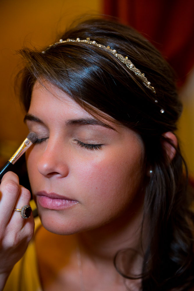 Bride make up session close up
