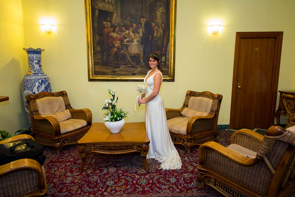 Bride portrait inside hotel