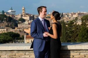 Portrait picture taken of a couple at Giardino degli Aranci.