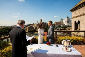 Getting married in Italy overlooking ancient Rome from a terrace view