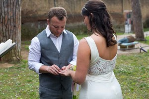 Groom putting the marriage ring on his bride