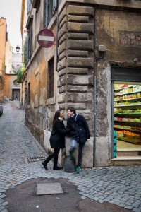 On the street photo of a couple in love in Rome