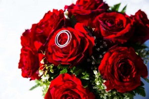 Close up macro photo of wedding rings on red roses