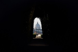 The keyhole view of Saint Peter's cathedral in the Vatican