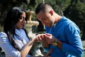 Engaged in Italy. Romantic gesture.