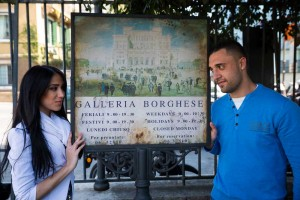 Portrait next to the Galleria Borghese sign