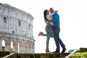 Couple posing during an e-session at the Coliseum