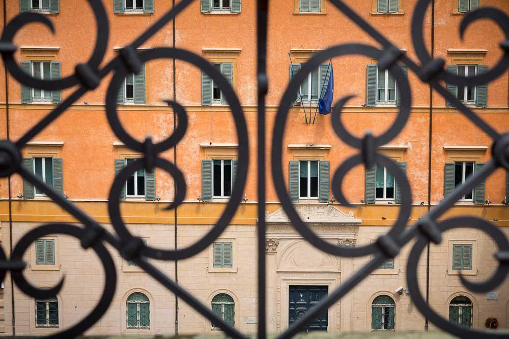 Building behind railing
