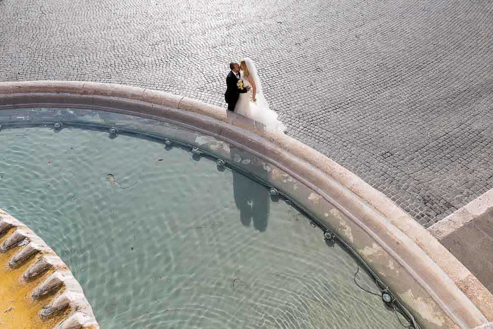 Wedding photography from Rome: piazza del Popolo overview from above.