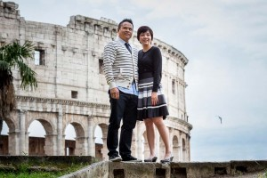 Standing over the Colosseum portrait picture