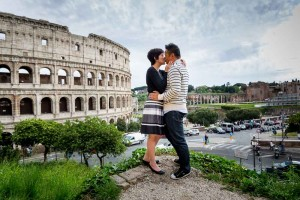 Kissing in Rome at the roman coliseum in Rome Italy