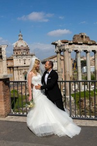 Just married couple at the Roman Forum in Rome