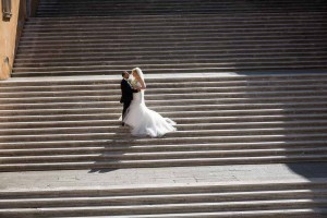 Standing on top of the Campidoglio staircase