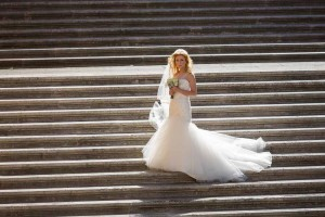 Bride solo portrait on steps