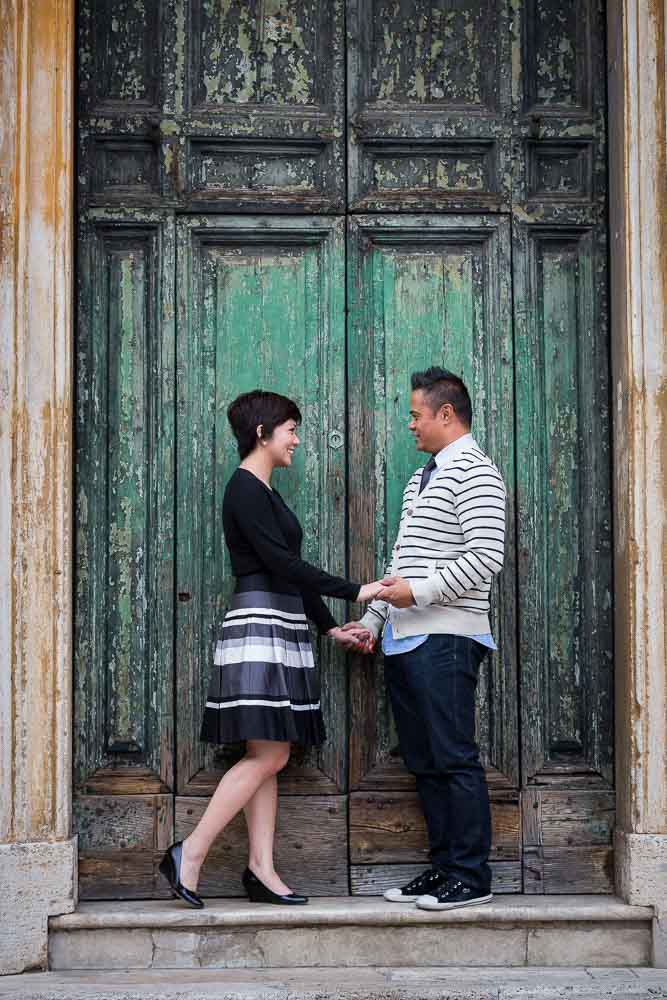 Green door engagement portrait