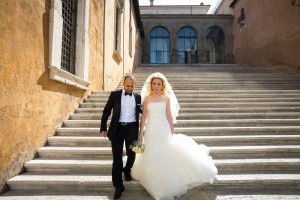 Walking down together after marriage in Rome