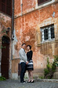 Standing image of a couple together in Italy