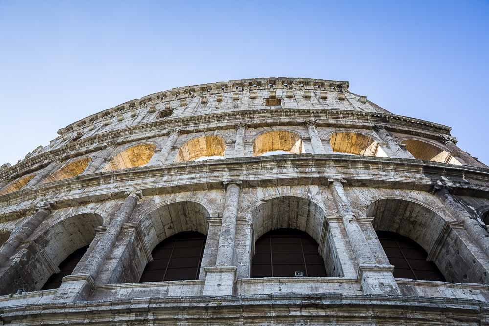 The view of the Roman Colosseum Rome Italy. View from outside and down below.