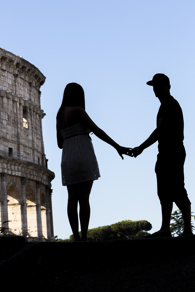 Silhouette image of a couple just engaged to be married in Rome Italy