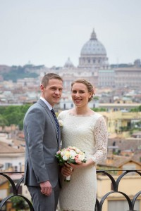 Portrait picture of a couple to be married in Rome