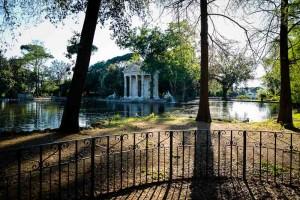 Villa Borghese lake side temple Aesculapius in Rome