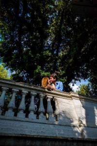 Kissing underneath a beautiful tree