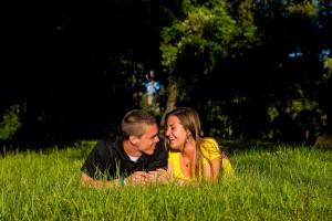 In love in Rome. Romantic time in a park.