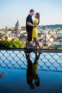 Engagement photography in Rome. Parco del Pincio. Italy.